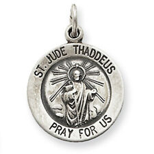Small 925 Sterling Silver Vintage St. Saint Jude medal charm pendant 1.2gram New