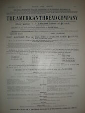 The American Thread Company share issue floatation 1898 old advert