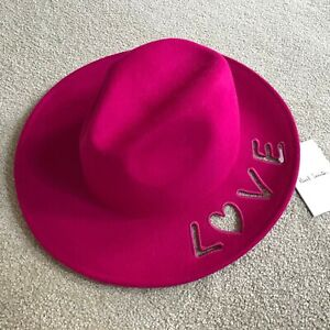 PAUL SMITH MAGENTA WOOL CUT OUT LOVE FEDORA HAT MADE IN ITALY SIZE S RARE