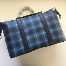 Coach Men's Black Denim Plaid Voyager Print PVC Duffle Bag Travel Carryon 55488