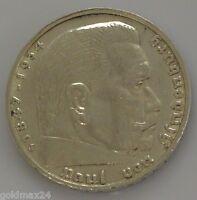 Drittes Reich 5 Reichsmark Silbermünze 1936 J - Hindenburg ohne HK