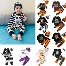 Newborn Infant Baby Boy&Girl Halloween Romper+Ghost Pumkin Pants+Hat Cap Outfits