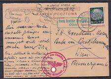 Polnische Ganzsache Postkarte m. Hindenburg Marke überklebt gel.1940 Krakau-Wien