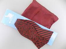 "COUNTESS MARA $65 Red Paisley MEN WIDTH 2.5"" Silk Blend Bow Tie HANDKERCHIEF S03"