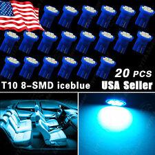 20 X Aqua Ice Blue T10 Wedge 8-SMD W5W 168 194 2825 175 LED Interior Light bulbs