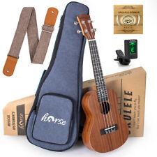 More details for horse concert ukulele 23 inch ukelele sapele with bag strap tuner for beginner