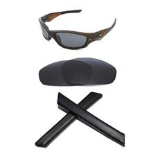 POLARIZED BLACK REPLACEMENT LENS&SOCKS 4 OAKLEY STRAIGHT JACKET 2007+ SUNGLASSES