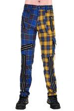 Blue and Yellow Zip Bondage Split Leg Pants