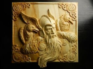 Wood carved picture wall decoration plaque. Odin and the ravens. Perfect gift