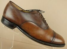 Johnston Murphy Aristocraft Brown Burnished Leather Cap Toe Shoes Mens 10.5 D/B