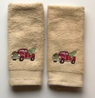 Red Truck Avanti Finger Tip Towels Embroidered Christmas Set of 2 Guest Bath