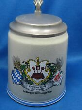 """6""""Tall Antique Made in Germany Pewter Lid Beer Stein Hand Painted Mug Engraved"""