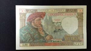 Billet de 50 Francs - Jacques COEUR - Banque de FRANCE - 1940 - G.20 - SUP