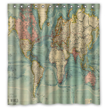 BEST Luxury Open World Map Vintage Waterproof Shower Curtain Exclusive Design