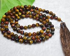 Multicolor Tiger's Eye Tibet Buddhist 108 Prayer Beads Mala Necklace meditationA