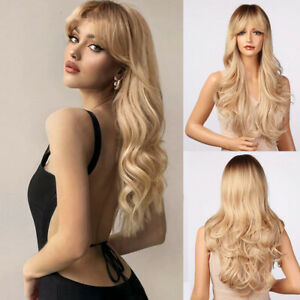 Ombre Brown Blonde Long Deep Wigs Synthetic Bangs Cosplay Party Women Wavy Hair