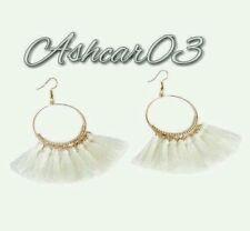 Zara Anthropologie Topshop acrylic gold clear white pearl dangle drop earrings