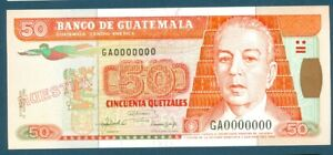 Banco de Guatemala 50 Quetzales 1992 Pick 77cs SPECIMEN Muestra