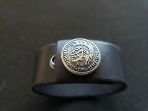 Diesel Leather / Stainless Signature Cuff Bracelet/Wristband