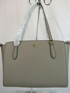 TORY BURCH EMERSON FRENCH GRAY SAFFIANO LEATHER REVA  ZIP TOTE SMALL BAG # 64188
