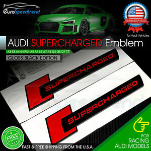 2x for Audi Gloss Black SuperCharged Badge 3D Emblem Side Fender A4 A5 A6 A8 OEM