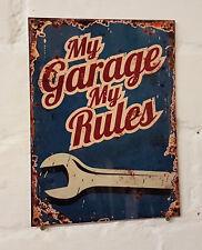 My Garage My Rules Retro metal Aluminium Sign vintage , bar , pub , man cave..