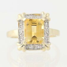 NEW Citrine & Diamond Ring - 14k Yellow Gold Size 7 Halo 1.91ctw