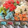HN- PW_ 1 Bouquet 15 Heads Artificial Fake Rose Silk Flowers Wedding Home Decor
