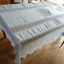 More details for vintage large white work crochet cotton tablecloth or bedspread 220 x 122 cm