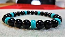 """Genuine Black Onyx & Turquoise Bead Bracelet for Men (Stretch) 8mm - 8"""" inch AAA"""