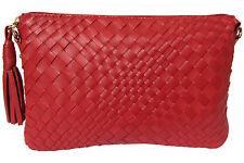 edelste Ledergeldbörse VEGAS rot abschließbar 16 Karten Clutch Gürtel Tasche