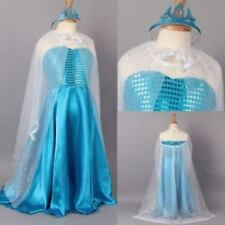 Frozen Snow Queen Elsa Costume Dress With Cape and Tiara Crown  -  Aussie Seller