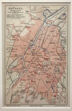 Original Antique City  Map In Colour Brussels Brüssel 1885  By Meyer. In German