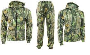 Mens Camouflage Gods Camo Fleece Tracksuit Hoodie Zipper Joggers Jogging Bottom