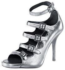 David Braun Riemchen Sandalette 39 LEDER Spain Silber Metalic Sexy HighHeels NEU