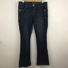 Candies Juniors Jeans 13 Blue Wide Stitch Trim Dark Wash Bootcut NL6