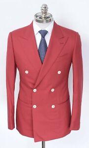 NWT CARUSO Red Birdseye Wool Peak Lapel Double Breasted Sport Coat 40 R (EU 50)