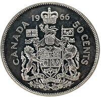 CANADA :1966 - (50 CENTS) HALF DOLLAR ,KM#63 ,ELIZABETH II, GEM BU SILVER COIN.