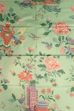 """Chinoiserie Celedon Green Glazed Chintz Fabric w/ Flowers in Vases"""