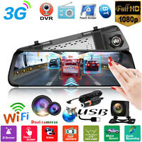 """3G Wifi HD 1080P 10""""Car DVR Rearview Camera Mirror Android GPS Dash Cam Recorder"""