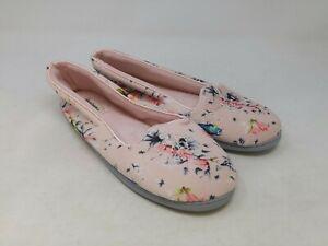 Dearfoams Women's Pink Floral Slippers Size 11-12 US