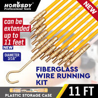 """3/16 """" x 11' Fiberglass Wire Cable Running Rods Fish Pulling Wire Holder Kit"""