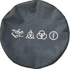 "SpareCover® Brawny Series - Led Zeppelin RUNES 32"" Black Denim Vinyl Tire Cover"