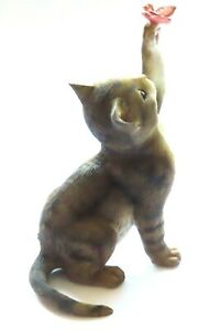 Tabby Kitten Playing with a Butterfly Figurine 12 CM