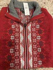 Eddie Bauer Collectibles Cardigan Sweater M Snowflake Zip Up New