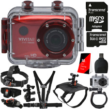 Vivitar DVR783HD Waterproof Action Video Camcorder Red with 16GB Accessory Kit