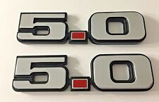 (2) 1979-1993 FORD MUSTANG 5.0 CHROME FENDER EMBLEMS 5.0L LX GT PAIR