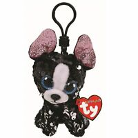 "2019 TY Flippables Sequin 3"" PORTIA Terrier Dog Beanie Boos Key Clip Plush MWMTs"