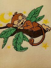 Personalized Embroidery Baby Blanket Monkey Sleeping