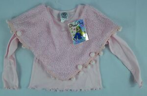 Toddler Girl's Diggy Diggy Bop DDB Pink 2-PC L/S  Shirt Tassel Capelet - Size 4T